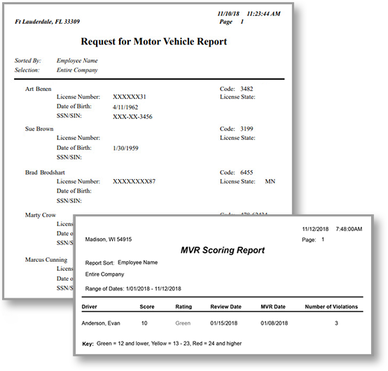 Example of a motor vehicle report